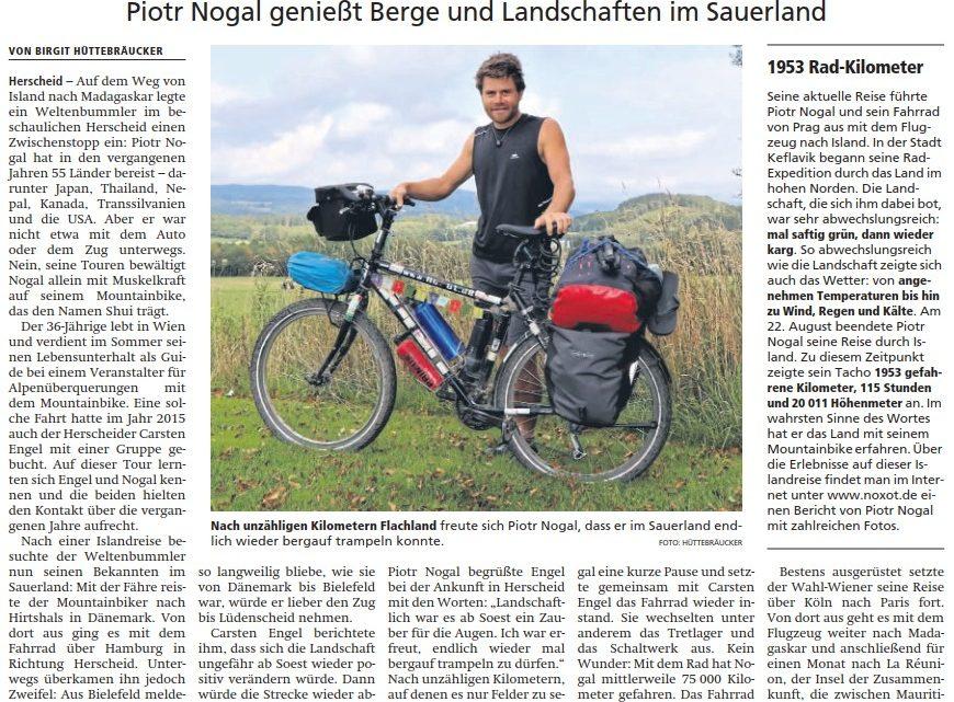 Im Sauerland in der Zeitung.